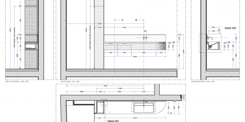 Plan et Elévation pour la réalisation d'un meuble vasque